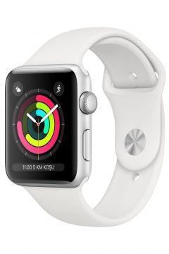 Apple Watch Seri 3 GPS 42 mm Gümüş Rengi Alüminyum Kasa ve Beyaz Spor Kordon -(123244043)