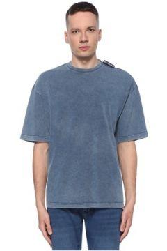 Balenciaga Erkek Mavi Logo Detaylı Denim Görünümlü T-shirt XS EU(113789499)