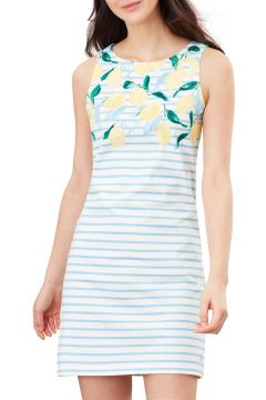Joules Riva Print Kleid - Lemon Stripe Border(114381192)
