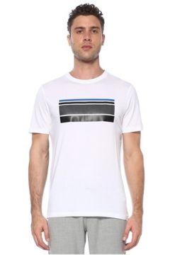 Network Erkek Slim Fit Beyaz Şerit Desen Detaylı T-shirt L EU(117653220)