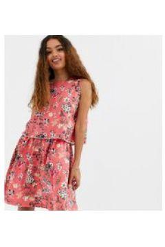 Brave Soul Petite - Vestito a fiori a doppio strato con decorazione di pompon-Rosa(120327900)