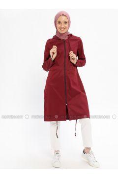 Plum - Unlined - Crew neck - Cotton - Trench Coat - Beha Tesettür(110315318)