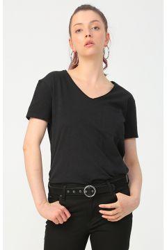 Mavi V Yaka Penye Siyah T-Shirt(126399243)