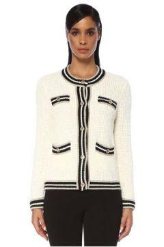 Maje Kadın Siyah Beyaz Şerit Detaylı Hırka Bej 0 FR(120730885)