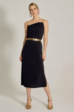 Ng Style Zincir Askılı Midi Siyah Elbise(126443748)