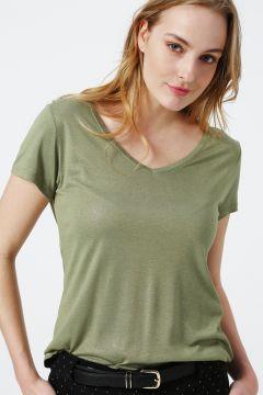 Beymen Studio V Yaka Yeşil T-Shirt(122135985)