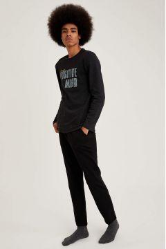 DeFacto Erkek Positive Mind Baskılı Regular Fit Pijama Takım(125931886)