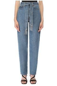 Forte Couture Kadın Yüksek Bel Kuşak Detaylı Jean Pantolon Mavi 28 US(117384882)