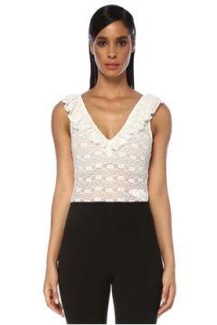 Maje Kadın Beyaz V Yaka Fırfırlı Dantel Bluz FR(120730884)