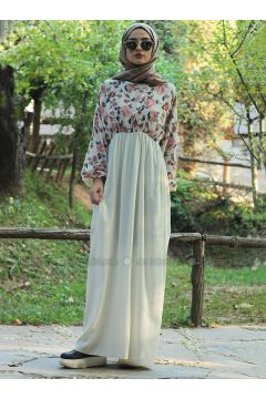 Cream - Multi - Crew neck - Unlined - Dresses - Fatma Aydın(110318268)