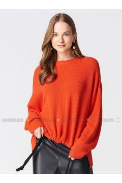 Orange - Crew neck -- Jumper - Dilvin(110327363)