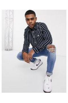 New Look - Camicia giacca a maniche lunghe in twill a righe blu navy(124792345)