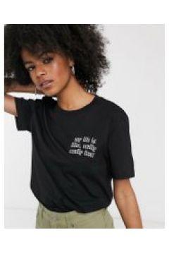 Dr Denim - T-shirt nera con slogan-Grigio(120379747)