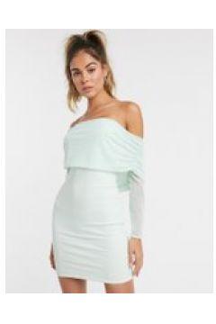 Club L - Vestito corto a fascia con scollo alla Bardot in rete e arricciature color menta-Verde(120323587)