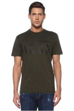 Dsquared2 Erkek Icon Haki Logo Baskılı T-shirt L EU(119423292)