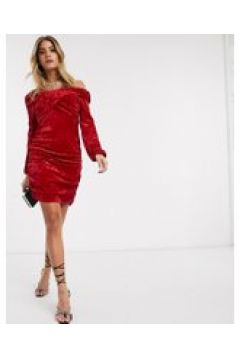 Ivyrevel - Vestito corto con spalle scoperte in velluto rosso(121394491)