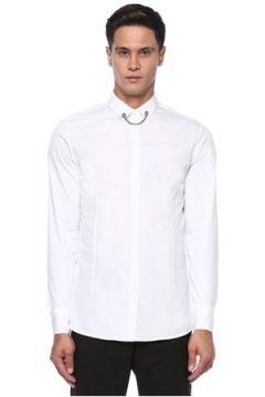 Neil Barrett Erkek Beyaz Yakası Metal Barlı Gömlek 42 IT(121108195)