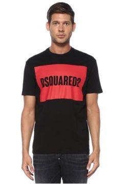 Dsquared2 Erkek Siyah Kırmızı Logo Baskılı T-shirt XXXL EU(119423269)