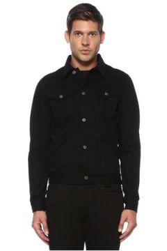 Givenchy Erkek Siyah Polo Yaka Kontrast Logolu Denim Ceket L EU(119423147)