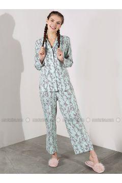 Green - Crew neck - Floral - Viscose - Pyjama - Akel(110331069)