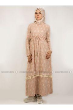 Powder - Multi - Crew neck - Unlined - Cotton - Linen - Dresses - NAKŞİN(110339668)
