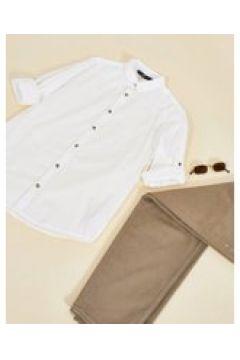 Bershka - Camicia bianca con maniche con risvolto-Bianco(120274462)