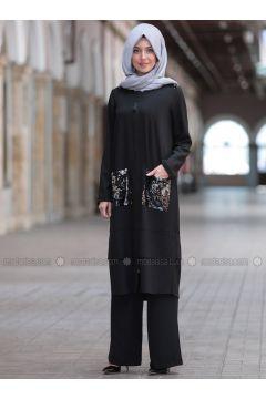 Black - Unlined - Suit - Emsale(110319086)