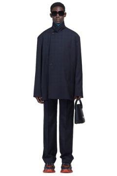 Balenciaga Erkek Boxy Fit Lacivert Ekoseli Yün Ceket 46 IT(113464406)