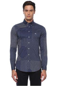 Etro Erkek Lacivert Polo Yaka Mikro Geometrik Desenli Gömlek 38 IT(120498276)