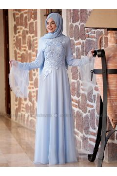 Baby Blue - Crew neck - Fully Lined - Muslim Evening Dress - Piennar(110314315)