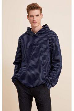 DeFacto Erkek Çizgili Kapüşonlu Slim Fit Sweatshirt(119060402)