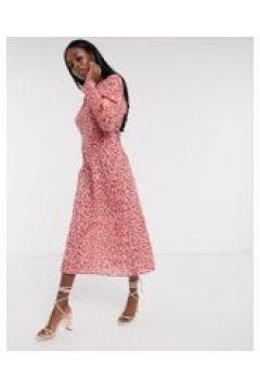 Never Fully Dressed - Vestito al polpaccio a maniche lunghe rosso a fiori-Multicolore(120331279)