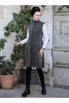 Anthracite - Point Collar - Vest - Selma Sarı Design(110318958)