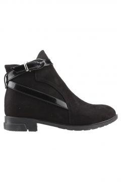 Ayakland 2320-835 Siyah Günlük Termo Fermuarlı Kadın Süet Bot Ayakkabı(123950914)