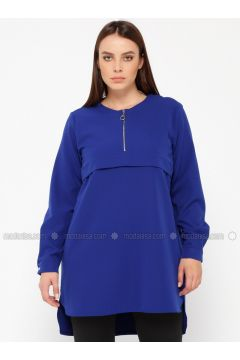 Saxe - Crew neck - Plus Size Tunic - NZL(110329897)