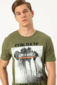 Only & Sons Baskılı Zeytin Yeşili T-Shirt(123481795)