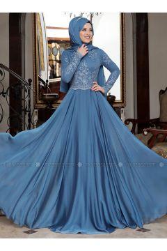 Indigo - Fully Lined - Crew neck - Muslim Evening Dress - Al-Marah(110328364)