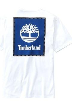 Timberland Erkek Box Logo Graphic Beyaz Organik Pamuk T-shirt M EU(113464614)