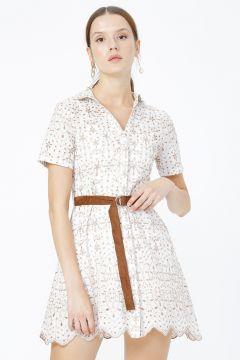 Network Ekru Kahverengi Desenli Elbise(125087630)