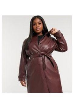 Fashion Union Plus - Cappotto con colletto e cintura in ecopelle PU-Marrone(122245292)