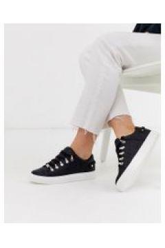 River Island - Sneakers nere stringate con logo goffrato - Nero(95042334)