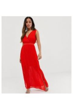 Y.A.S Petite - Vestito lungo a portafoglio a pieghe-Rosso(120330611)