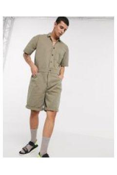 ASOS DESIGN - Tuta di jeans kaki-Verde(120357125)