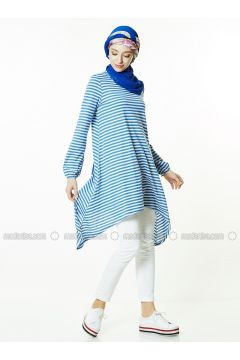 Blue - Stripe - Crew neck - Tunic - Gippe Collection(110313429)