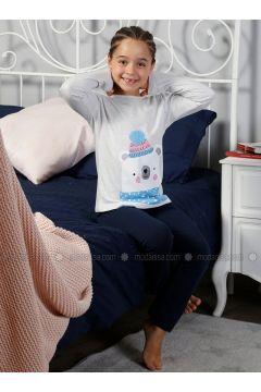 Gray - Crew neck - Multi - Kids Pijamas - Elitol(110329428)