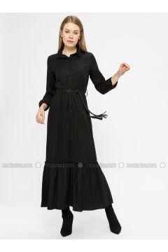 Black - Point Collar - Unlined - Dresses - Kaktüs(110319014)