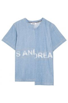 T-shirt Andrea Crews Stone-washed denim tee-shirt Blue(115483483)
