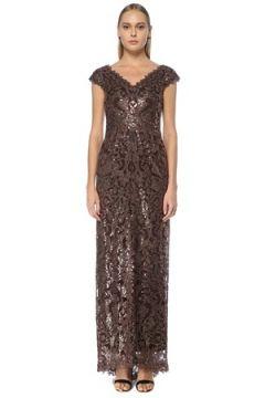 Tadashi Shoji Kadın Kahverengi Yırtmaçlı Dantelli Maxi Abiye Elbise 2 US(124468755)