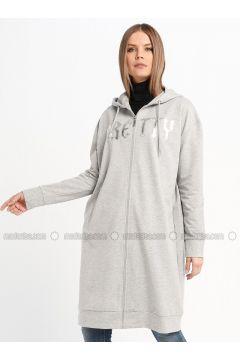 Gray - Unlined - Cotton - Topcoat - Sementa(110336952)