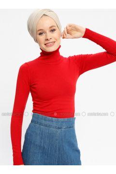 Red - Polo neck - Viscose -- Jumper - Seyhan Fashion(110337666)